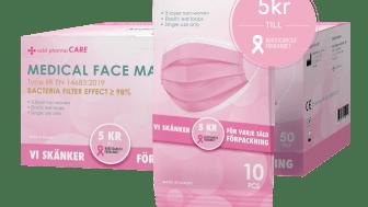 Rosa munskydd i 10- och 50-pack där 5 kr per såld produkt går till Bröstcancerförbundet