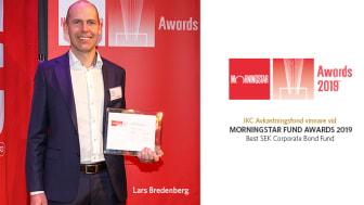 Vinnare vid Morningstar Fund Awards 2019,  Lars Bredenberg förvaltare av IKC Avkastningsfond.