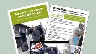 Skrift, checklista och instruktionsfilmer som visar hur matvagnar lastsäkras i färdtjänstfordon.