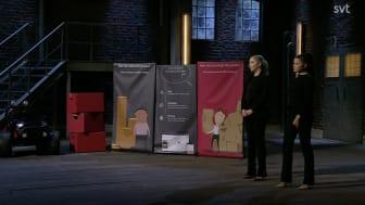 Venture Cup alumnerna och grundarna av Rymla, Sofia Tungel och Katrin Persson, presenterar sitt bolag i Draknästet.