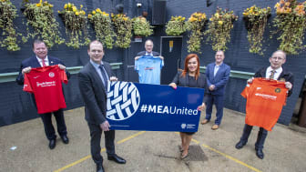 L-R: Gareth Clements, Larne FC; Gordon Lyons MLA; John Taggart, Ballymena United; Anne Donaghy, MEABC Chief Executive; Patrick Nelson, IFA; and Peter Clarke, Carrick Rangers.