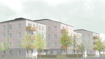 Illustration av det planerade bostadsområdet Signallottan 2, av Visbyark.