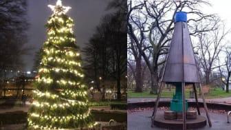 Skyddshöljet runt fontänen i Stadsträdgården före och efter att den blev omvandlad till gran.
