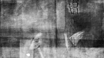 Bowes Museum panel Xray unmarked close up of figure (possibly shepherd) (photo credit Northumbria University and The Bowes Museum)