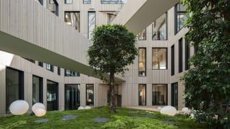 Kontorshuset Dungen genomsyras av hållbara och tåliga material. Inuti byggnaden välkomnar stora träd.