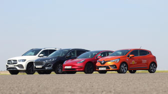 A selection of the cars tested (L-R Mercedes GLE, Ford Kuga, Tesla Model 3, Renault Clio)
