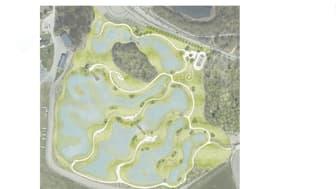 Översiktsbild av hur vattenparken kommer att se ut när en är klar. Illustration: Topia.