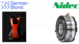 Left: German Bionic Systems' next-gen prototype power suit based on the company's Cray X model; right: Nidec-Shimpo's super flat actuator