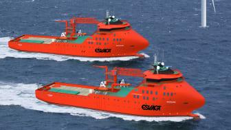 Sådan kommer de nye vindmølleskibe til at se ud. Designet - type Havyard 832 SOV - er Havyards eget, men det er baseret på de specifikationer, ESVAGT ønsker, så det passer til ESVAGTs brug af bådoverførsler.