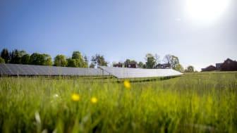Solhagen i Torphyttan, Örebro läns största markförlagda solpark. Foto: Linde energi