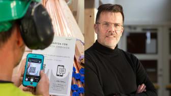 Yrkesarbetarna i projektet läser av en QR-kod och besvarar enkäten via mobilen. Det nya PQi-verktyget plockade bort tröskeln för mätning, säger Martin Ullgren, projektchef på Regionfastigheter Dalarna