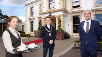 Mid and East Antrim Borough Council Mayor, Councillor Peter Johnston, with Ellen Quinn and Colin Johnston, Galgorm Collection Managing Director.