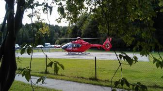 Helikoptern landar på Danderyds sjukhus