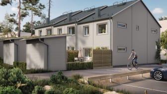 OBOS utvecklar bostäder både i Lilla Källviken och i Surbrunnshagen. Ovan projektet Brf Högbobäcken med 18 radhus.