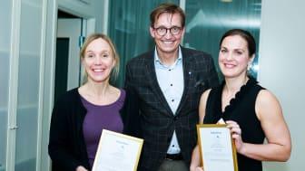 Robert Hejdenberg, ordförande i Astma- och Allergiförbundets forskningsfond, Ulrika Käck (Karolinska institutet) och Karin Ersson (Uppsala Universitet)