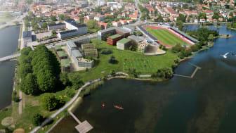 Vy över Fredriksskans i Kalmar där de nya bostäderna ska byggas med den legendariska idrottsplatsen i bakgrunden.