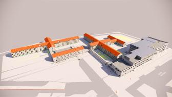 Die Visualisierung zeigt die Struktur des JVA-Geländes in Willich nach Errichtung der geplanten Neubauten.  Planungsmodell/copyright: Ed. Züblin AG