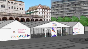 """For samlokaliseringen skal det settes opp et 1000 kvm telt som skal romme kunstutstilling (400 kvm), to debatt-saler (300 kvm) samt kafé, kjøkken, frivillig-område, og """"backstage."""""""