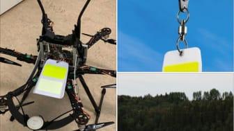 ONE Nordic har monterat fågelavvisare på en elledning som löper över ett vattendrag med hjälp av drönare.