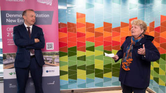 """Rail Minister Chris Heaton-Harris and local resident Sandi Toksvig welcome Denmark Hill station's new """"climate positive"""" entrance"""