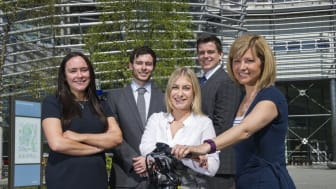 NBS Business Clinic students Aine Connolly, George Allen, Emma Stephenson and William Cooke with Jill Hopkirk from The Cycle Hub.