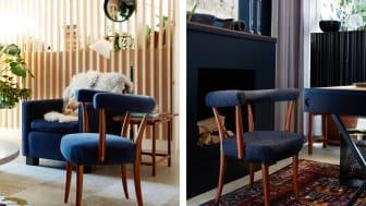 Sex möbler, fyra olika inredningsstilar