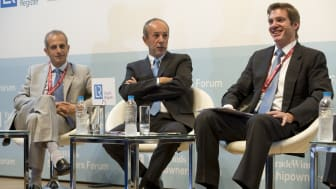 Shipowners, left to right: Aristides Pittas, Dr John Coustas, Leon Patitsas