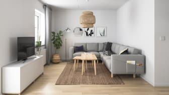 Illustration av interiör vardagsrum, BoKlok småhus 2019.