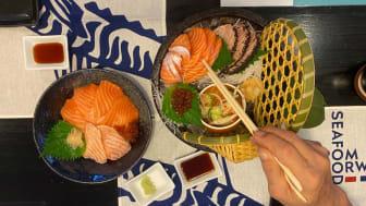 Både restauranter og butikker deltar mer enn gjerne i tidenes største kampanje for norsk laks og makrell i Thailand
