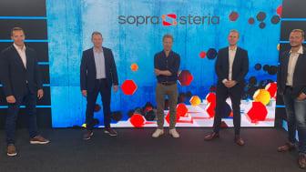 Fra venstre: Daniel Reime i Microsoft, Torbjørn Meland i Sopra Steria, Eirik Kvernmo Holgernes i Sopra Steria, Finn Urienstad i Microsoft og Magnar Buan i Sopra Steria