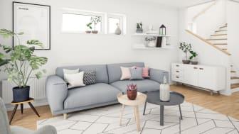 Brf Genvägen - 3D-bild av vardagsrum