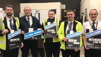 Go North East bus drivers joining in with Newcastle United Foundation's 'Be A Game Changer' mental health awareness campaign