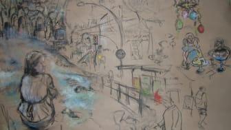 """For a moment"" av Jessica Lundeberg, skiss på golvpapp i kol och olja, 60 X 90 cm"