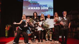 Tina Frennstedt, Jan Mårtenson, Sofie Sarenbrant, Martin Widmark och Helena Willis vann Crimtime Award förra året. / Foto: Natalie Greppi.