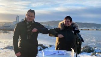 Havnedirektør Knut Thomas Kusslid og ordfører i Trondheim, Rita Ottervik
