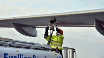 Tankning av biobränsle på Stockholm Arlanda Airport i januari 2017. Foto: Victoria Ström