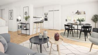 Brf Genvägen - 3D-bild av kök och vardagsrum