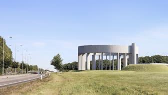 Vy av vattentornet från Österleden. Arkitektskiss, Wingårdhs Arkitektbyrå.