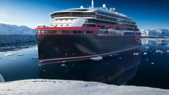 Slik blir de nye skipene som Kleven skal bygge for Hurtigruten. Illustrasjon: Rolls-Royce.