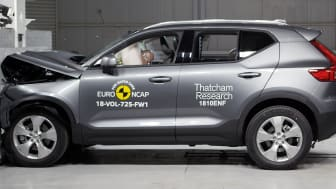 The Volvo XC40 in a frontal full width impact test at the Thatcham Research Safety Laboratory