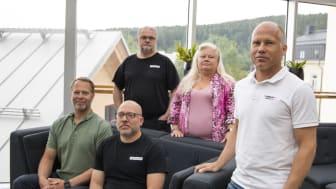 Teamet som ska lyfta Biocompost. Grundaren Eric Tjernberg, administratören Madeleine Skiöld, vd Thomas Storsjö, tekniskt säljstöd Finn Eriksson och Juan Pablo Arrigoni, doktor i jordbruksvetenskap med inriktning på kompostering.