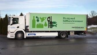 Biogasbil från KMP Kyl & Frys som distribuerar för Martin & Servera i Stockholm