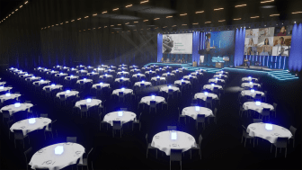 The Hybrid Event Arena is Sweden's largest studio solution for hybrid meetings. With three stages and various flexible spaces, the arena is designed to provide a great shared experience for both physical and digital participants.