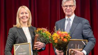 Kathrine Löfberg, ordförande i Löfbergs och Hans Stråberg, ordförande i Atlas Copco
