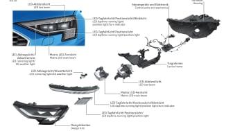 Matrix LED headlight with digital daytone running lights