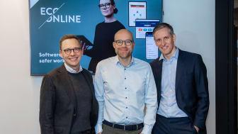 Jostein Vik, Partner, Viking Venture, Göran Lindö, CEO EcoOnline Group, Christian Melby, Partner i Summa Equity och styrelsemedlem i EcoOnline. Foto: Thomas Brun, NTB kommunikasjon