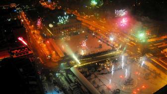 Silvesterfeuerwerk auf dem Leipziger Augustusplatz