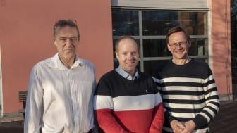 Härmösands kommundirektör Lars Liljedahl, kommunstyrelsens ordförande Andreas Sjölander (S) och Mittuniversitetets rektor Anders Fällström.