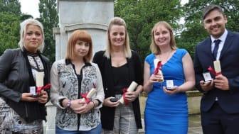Heath Award recipients L-R: Claire Gibson; Madeleine Gray; Karen Davies; Amanda Stephenson; Daniel Fabian