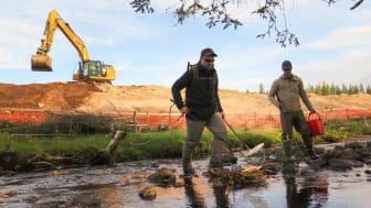 El-fiske i Terninga. T.v. ferskvannsbiolog Gaute Thomassen, t.h. økotoksikolog Henrik Myreng. I bakgrunnen ser vi gravemaskinfører fra Skanska. (Foto: Stina Kiil)